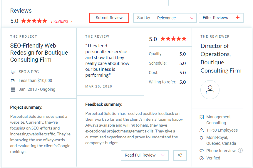 Five Star Review Web Design